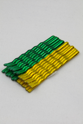 Color hairpin Metallic Green & Metallic Yellow