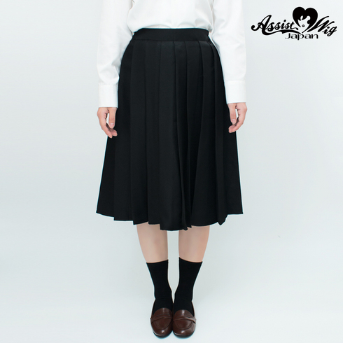 Color long pleated skirt Black