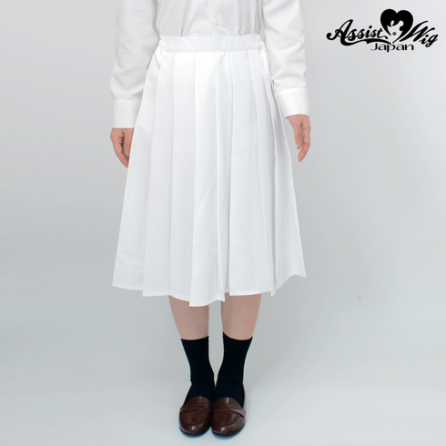 Color long pleated skirt White