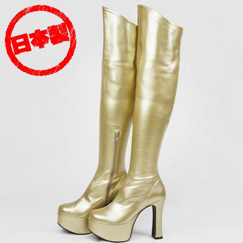 Thick bottom stretch knee high boots Gold