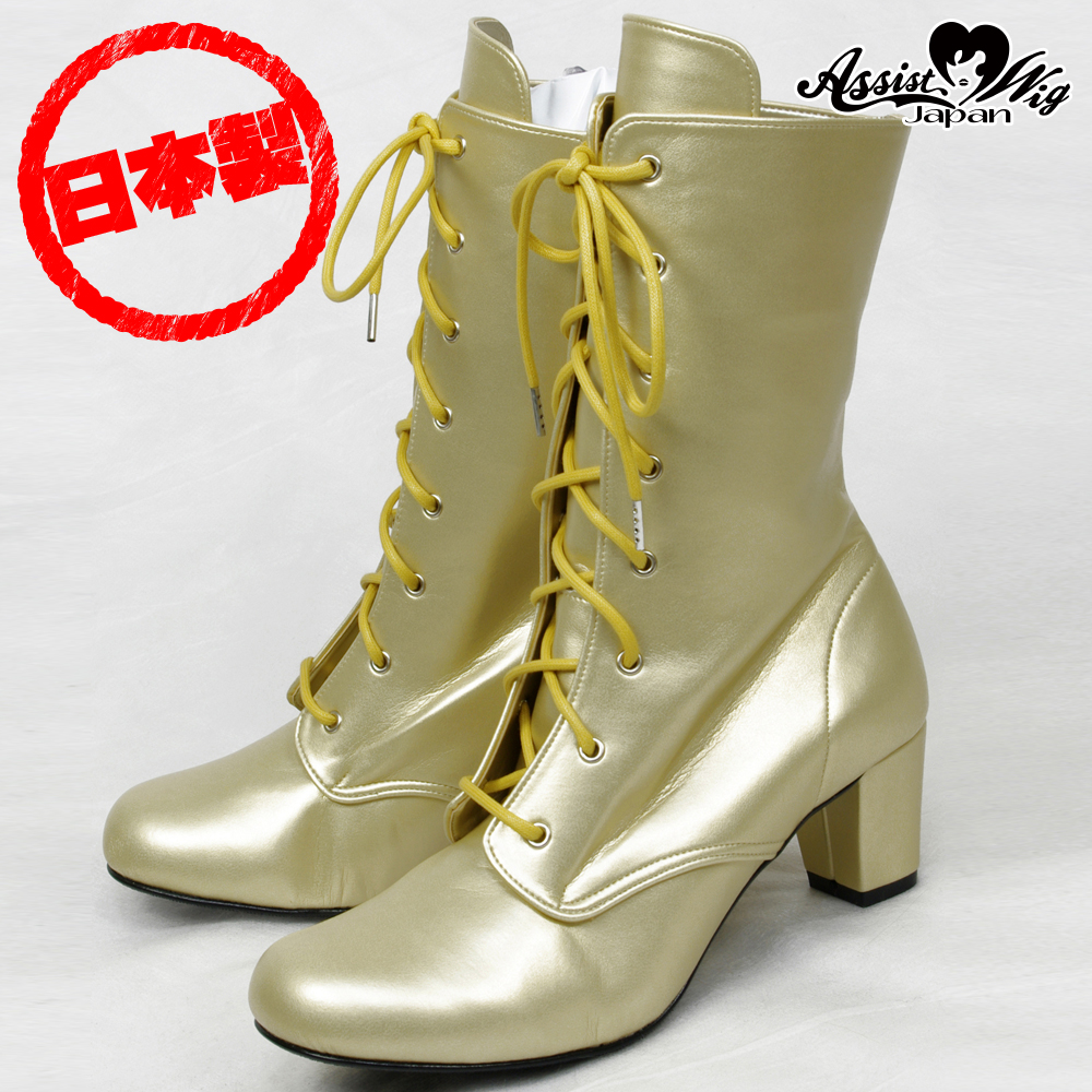 Queen Size Lace-Up Short Boots ver.2 Low Heels 5.5cm Gold