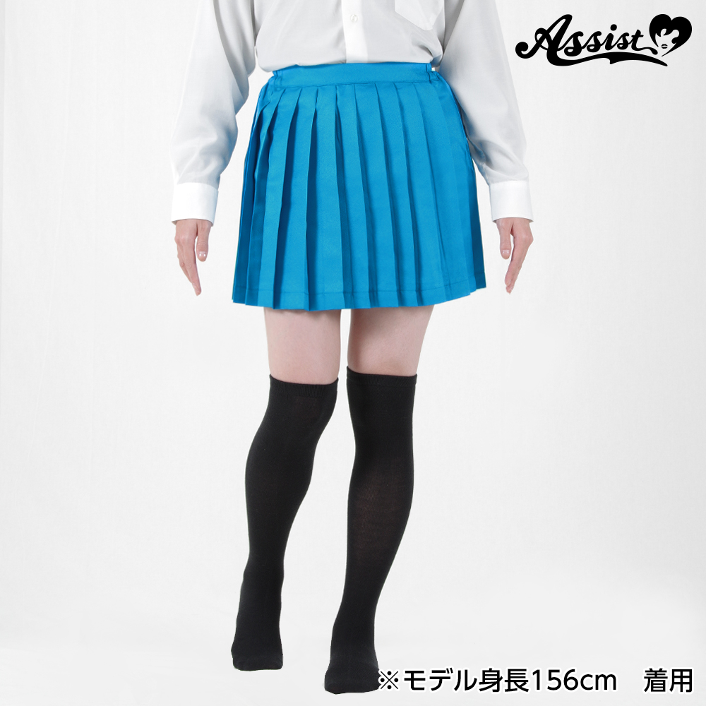 Size adjusted color pleated skirt Light Blue