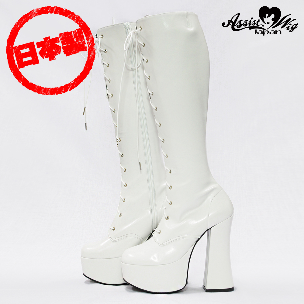 Thick bottom stretch lace up boots ver 2 thick heel 14 cm White