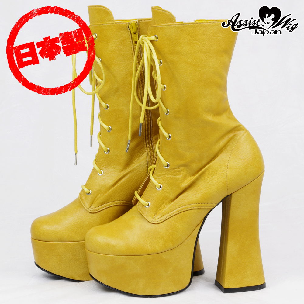 Thick bottom short boots ver.2 thick heel 14cm mustard
