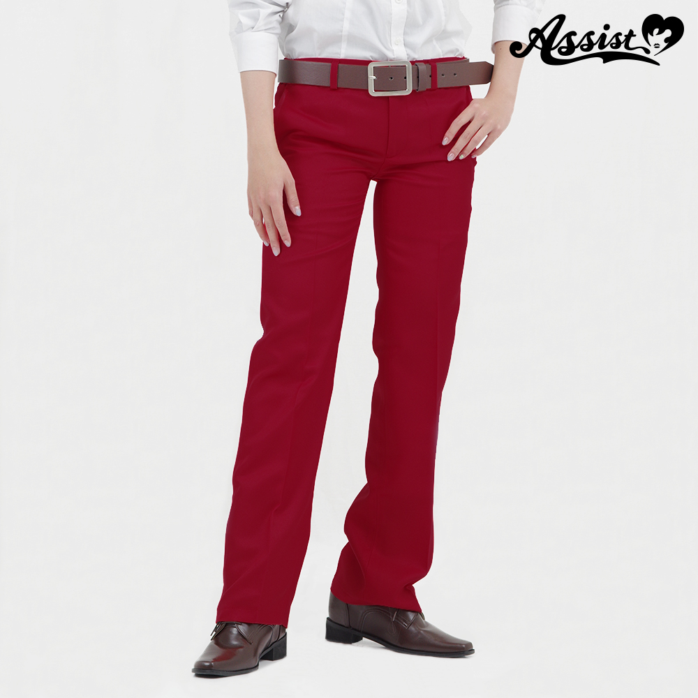 Color slacks burgundy