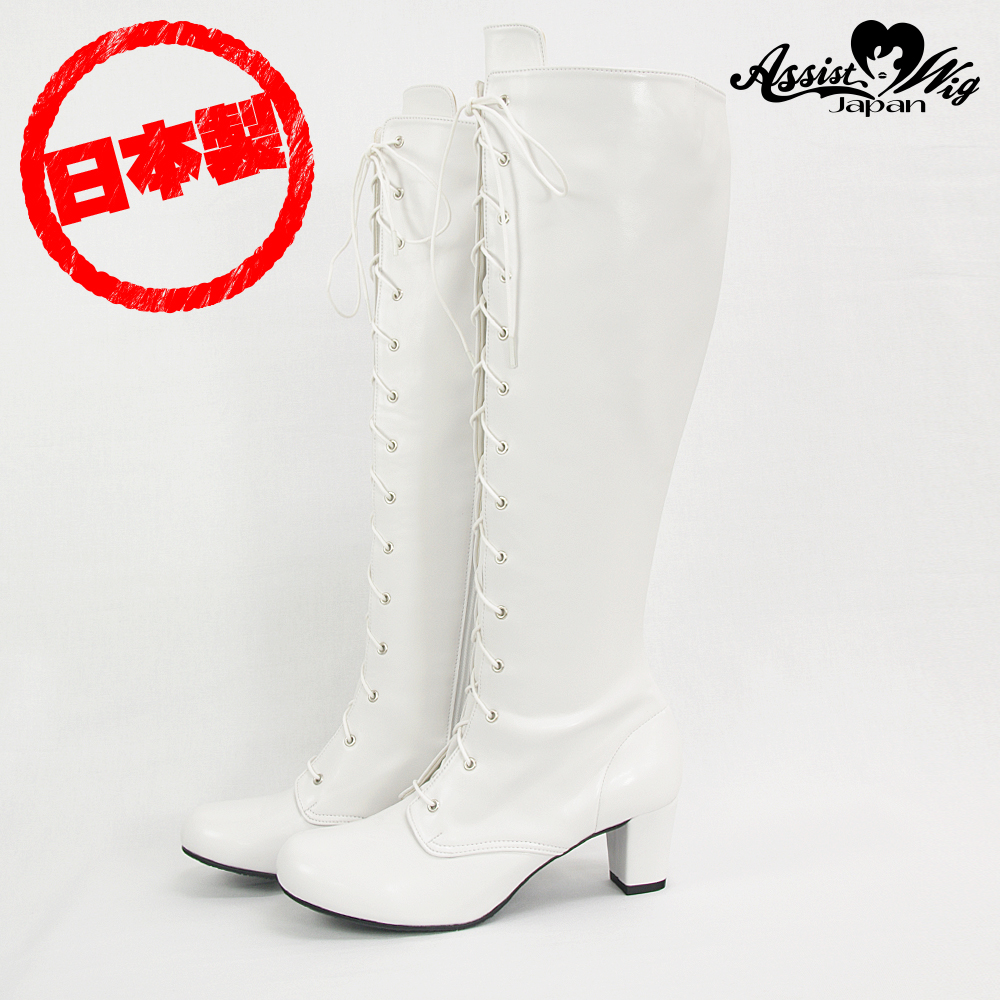 Queen size stretch lace up boots low heel 5.5 cm White