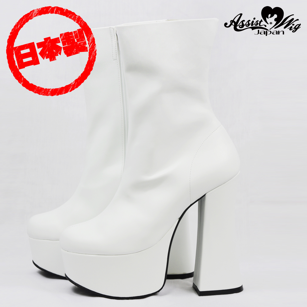 Thick bottom plain short boots thick heel 14 cm White