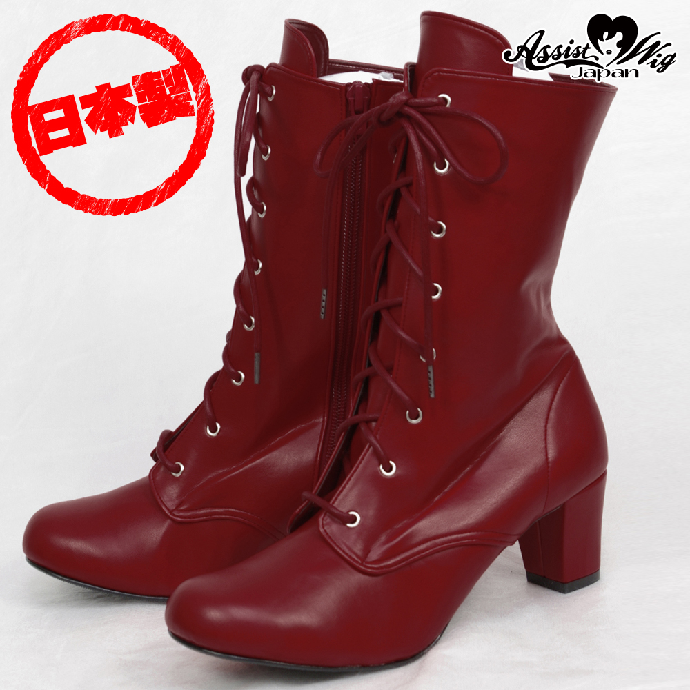 Lace-up short boots ver.2 low heel 5.5cm Deep Red