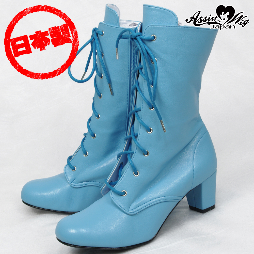 Lace-up short boots ver.2 low heel 5.5cm sky blue