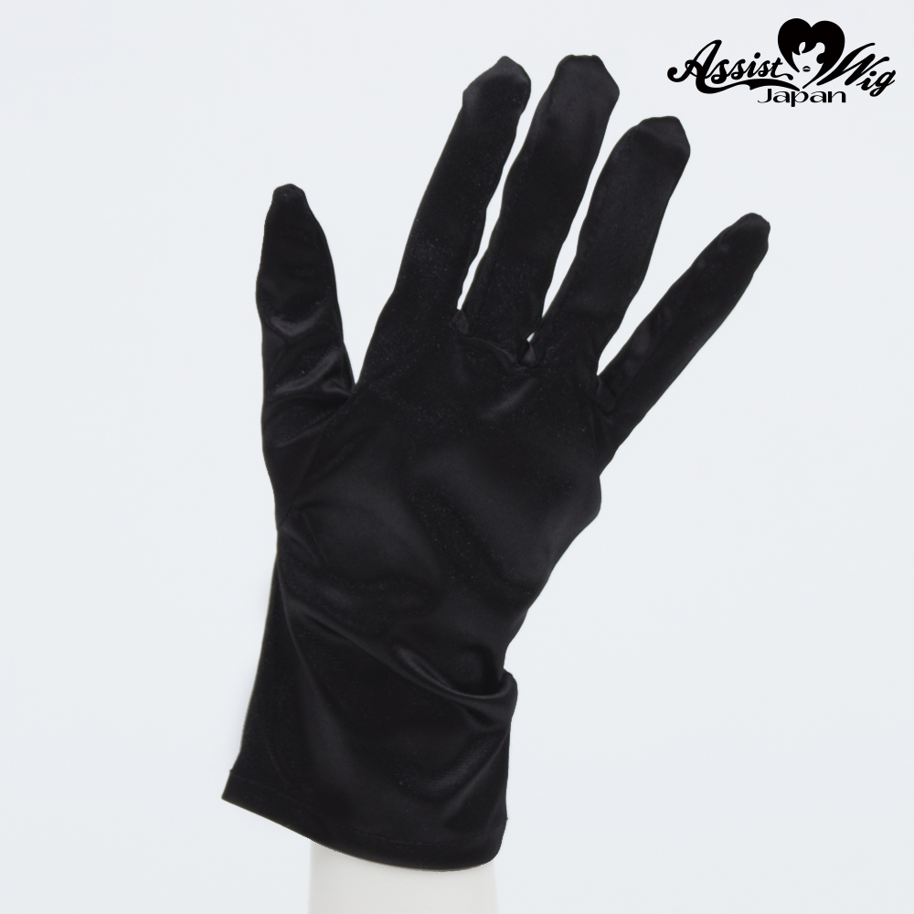 Satin gloves (short) Black