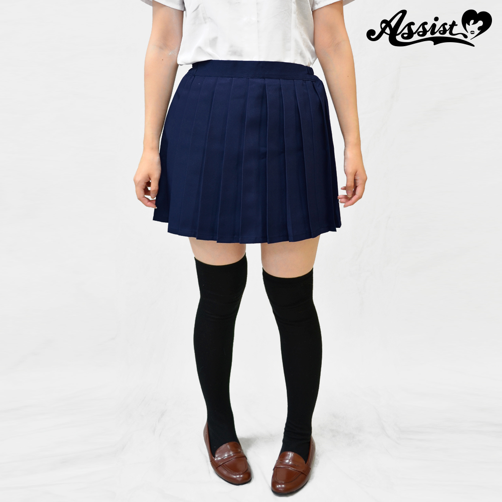 Size adjusted color pleated skirt Navy