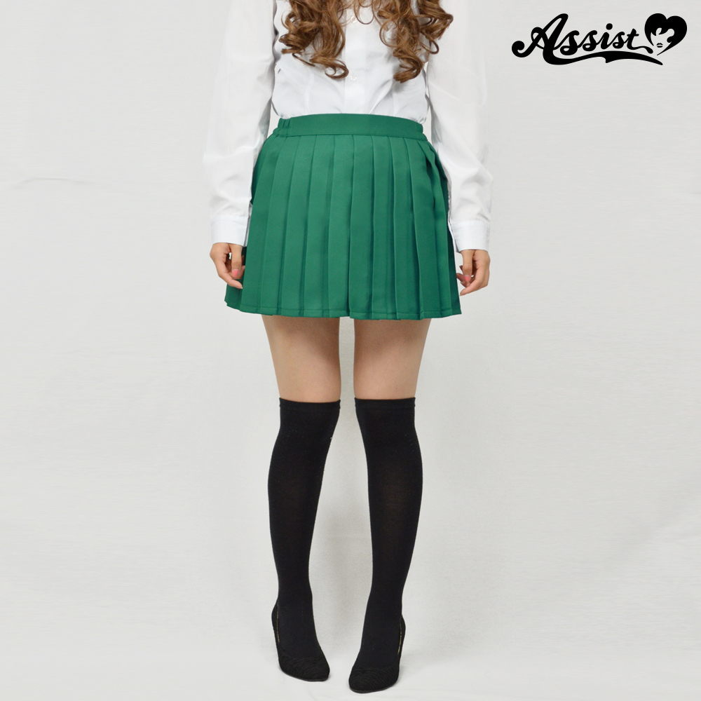 Size adjusted color pleated skirt Green