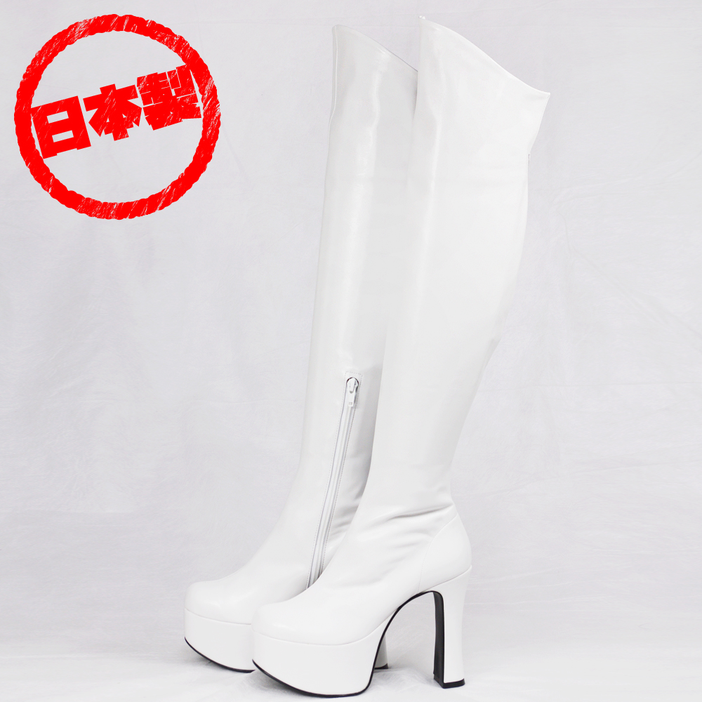 Thick bottom stretch knee high boots White