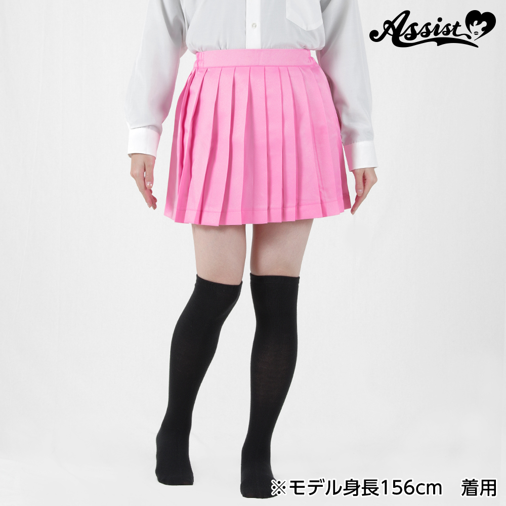 Size adjusted color pleated skirt Pink
