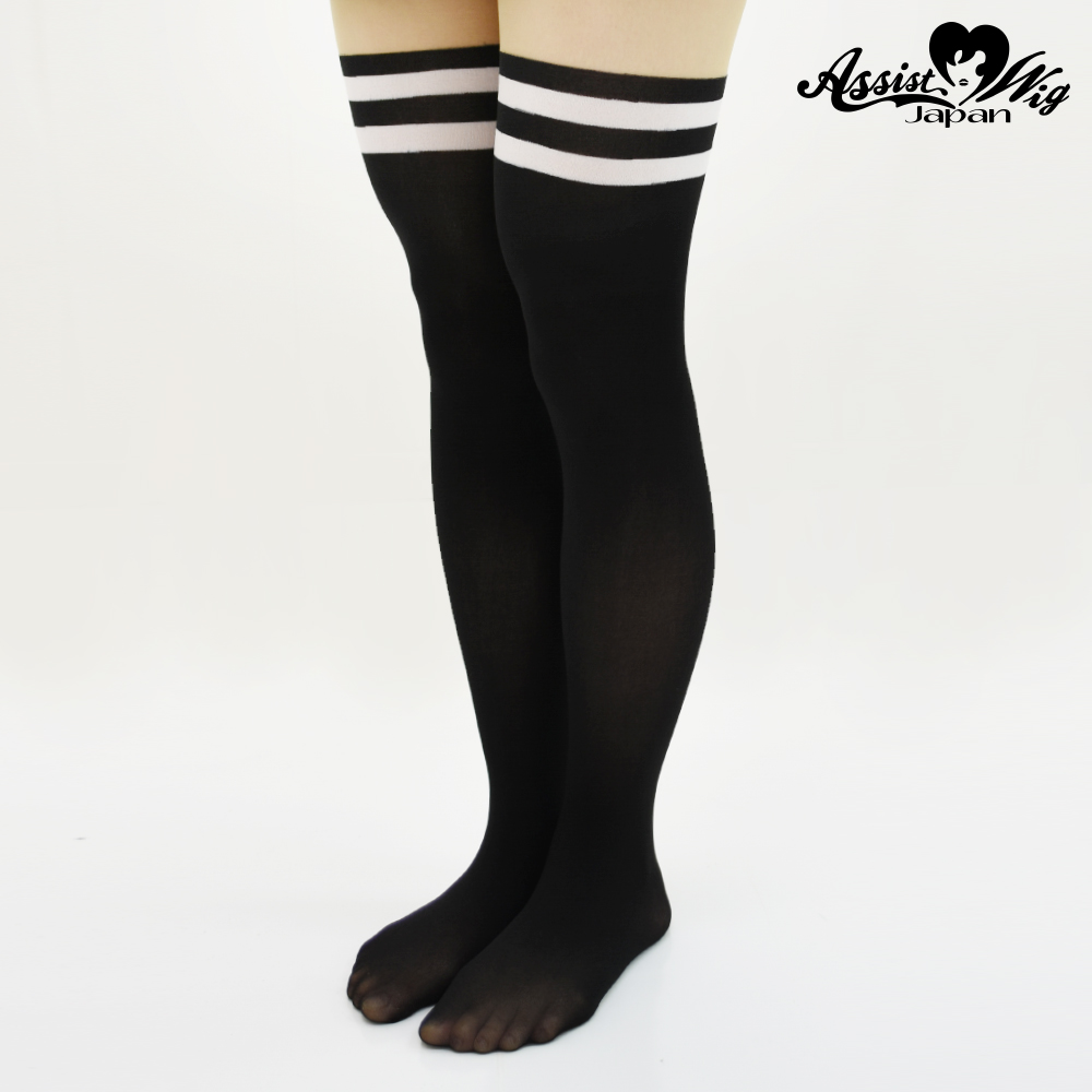 Fake knee high tights Black × White