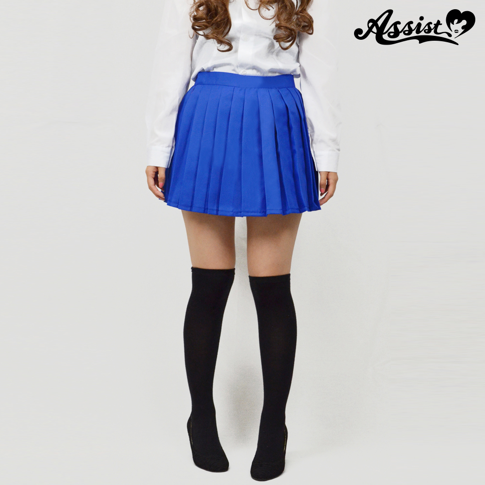 Size adjusted color pleated skirt Blue