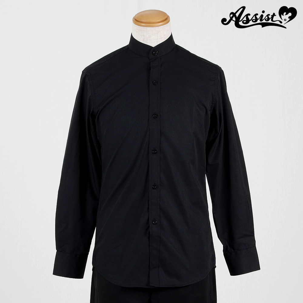 Stand collar shirt (front left, long sleeves) Black