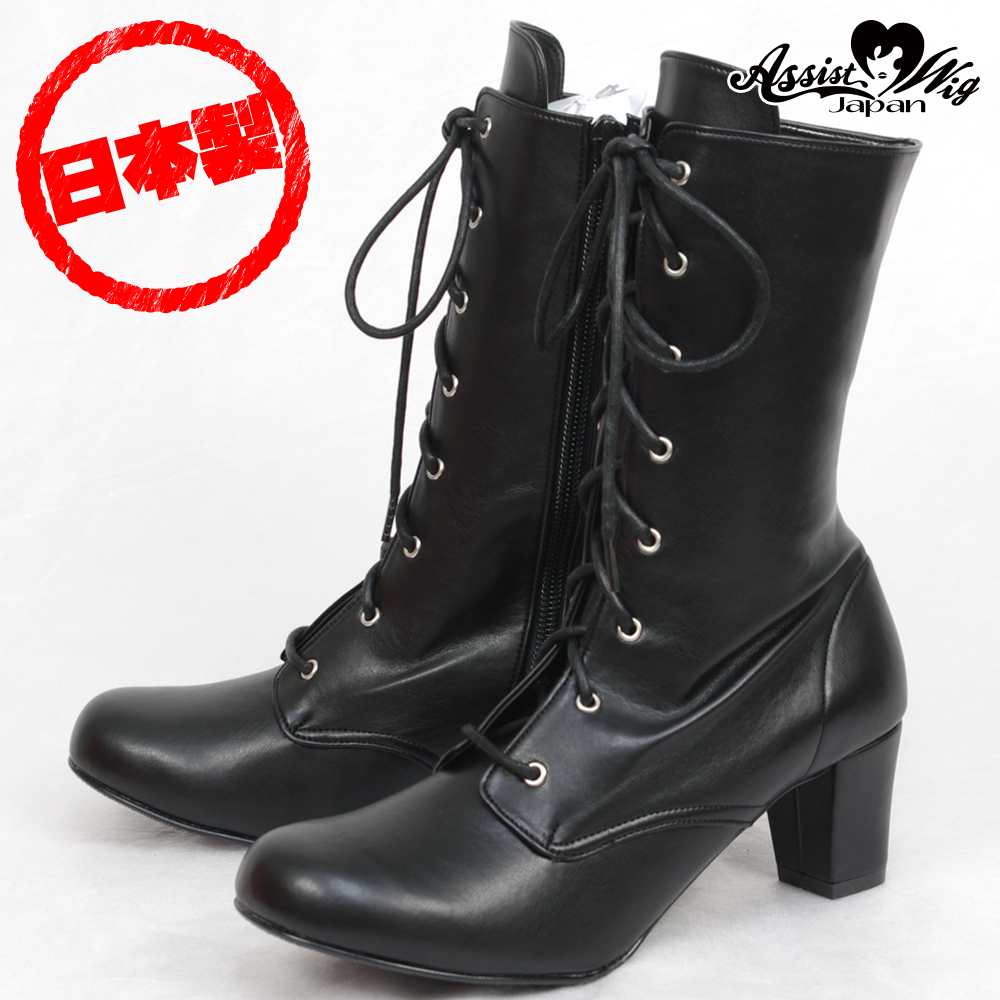 Queen Size Lace-Up Short Boots ver.2 Low Heels 5.5cm Black
