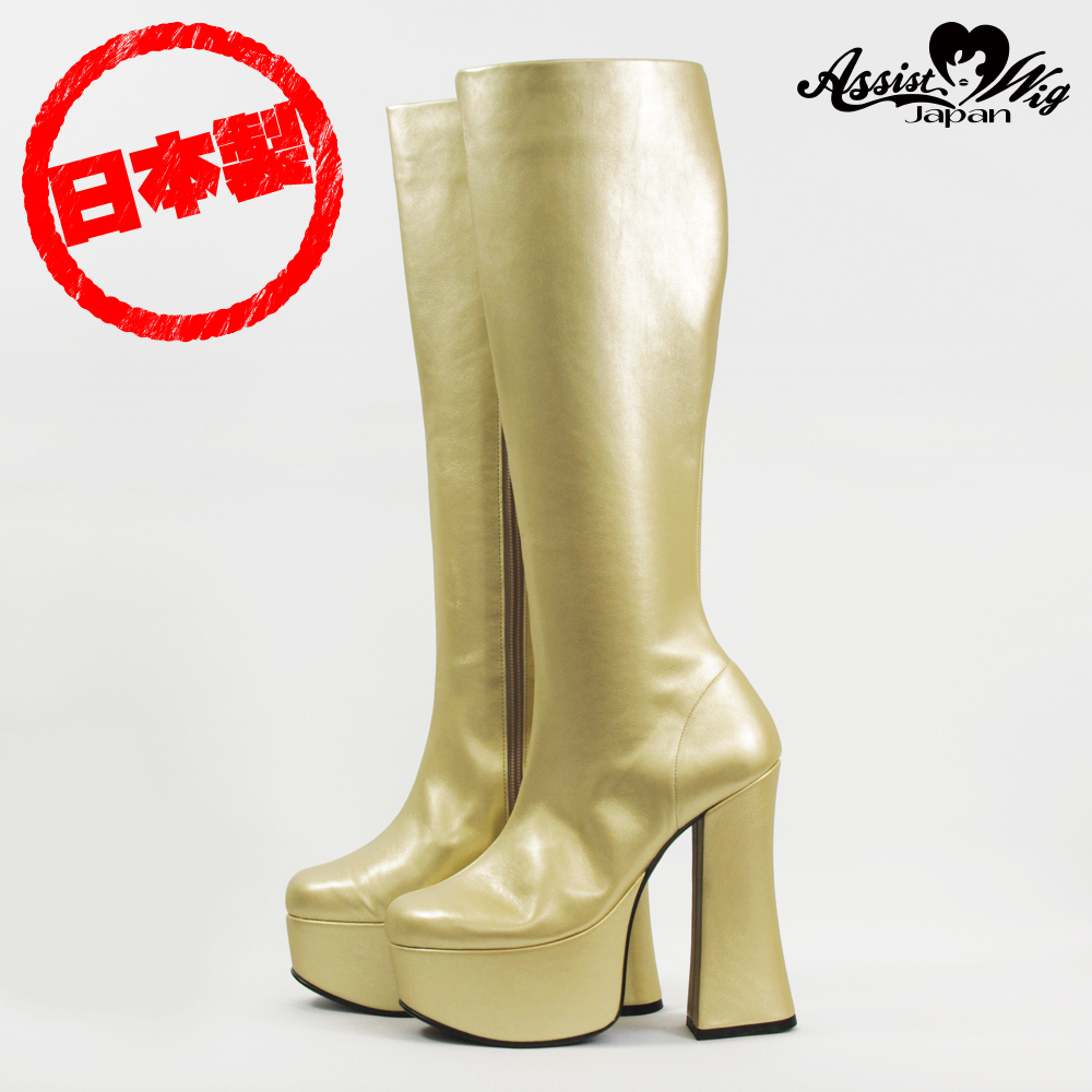 Thick bottom stretch long boots thick heel 14 cm Gold