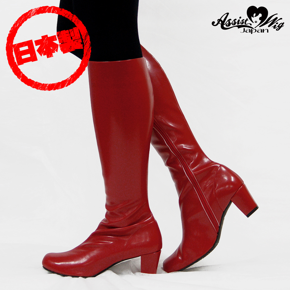 Queen size stretch long boots low heel 5.5 cm Red