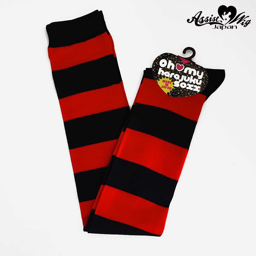 World Oversholes Socks border Black × Red