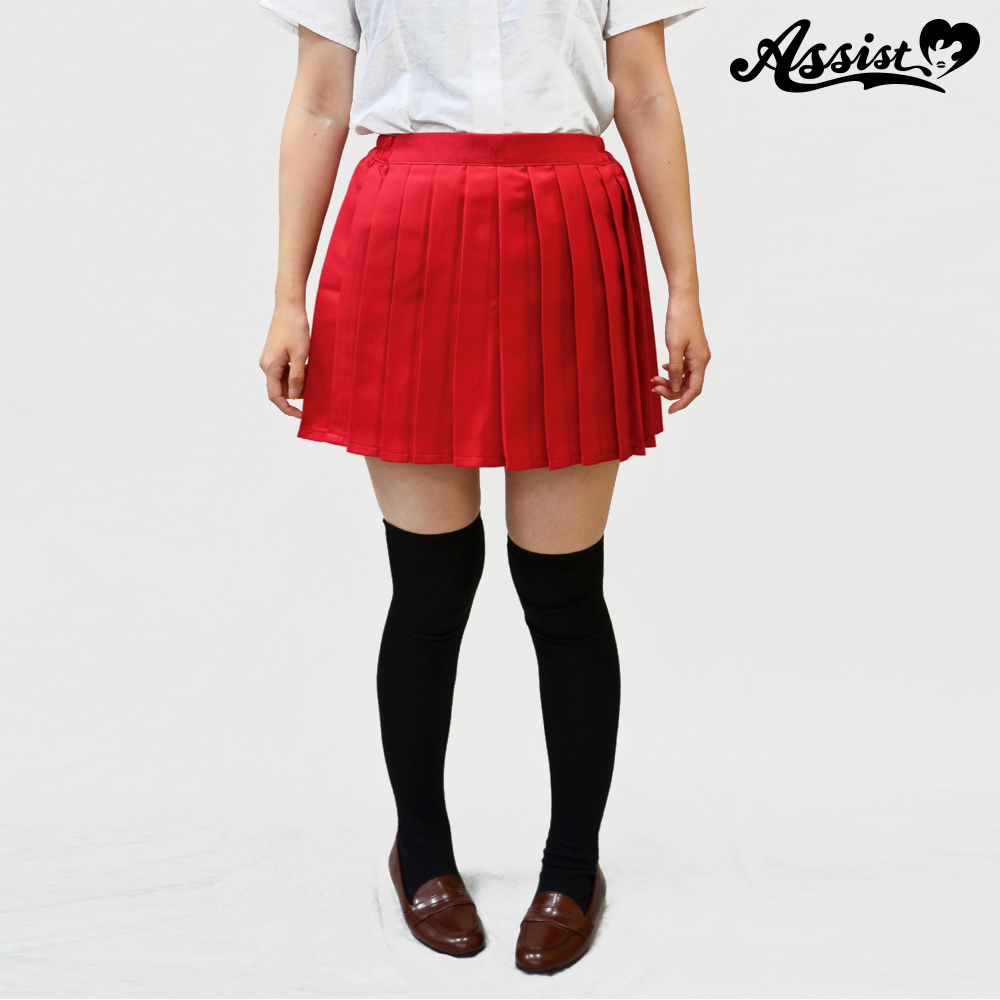 Size adjusted color pleated skirt Red