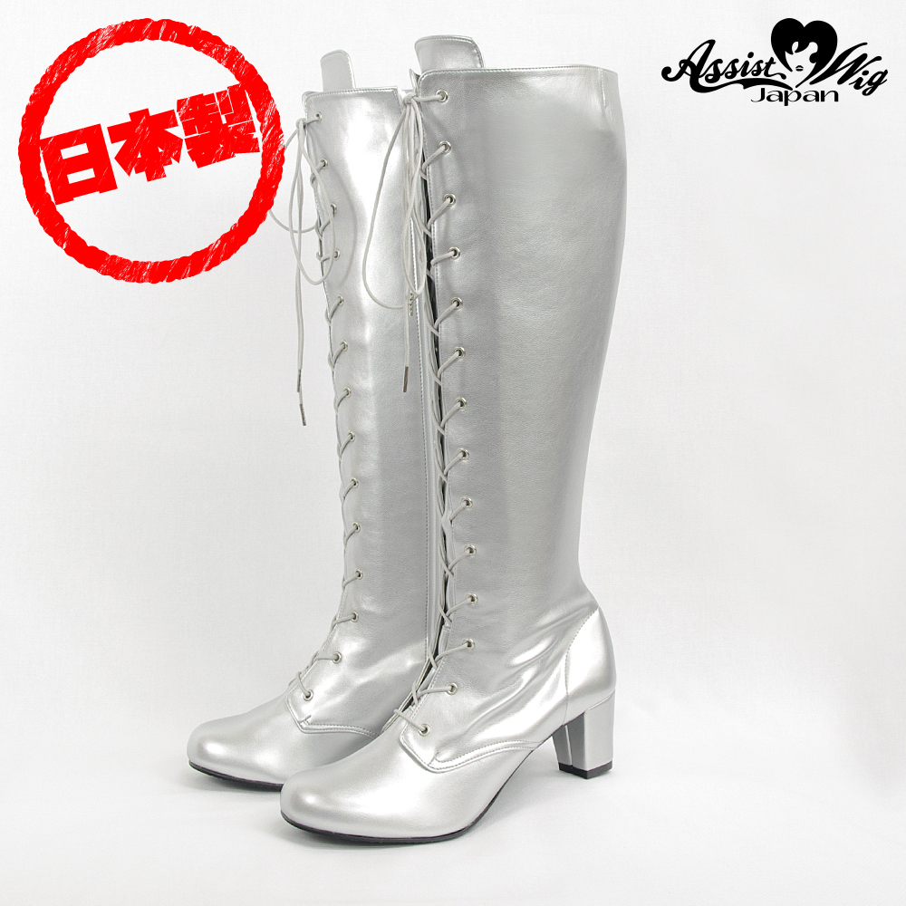 Queen size stretch lace up boots low heel 5.5 cm Silver