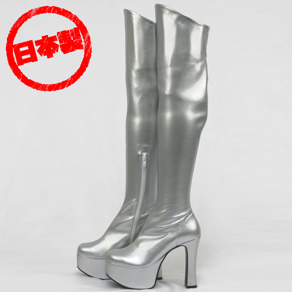 Thick bottom stretch knee high boots Silver