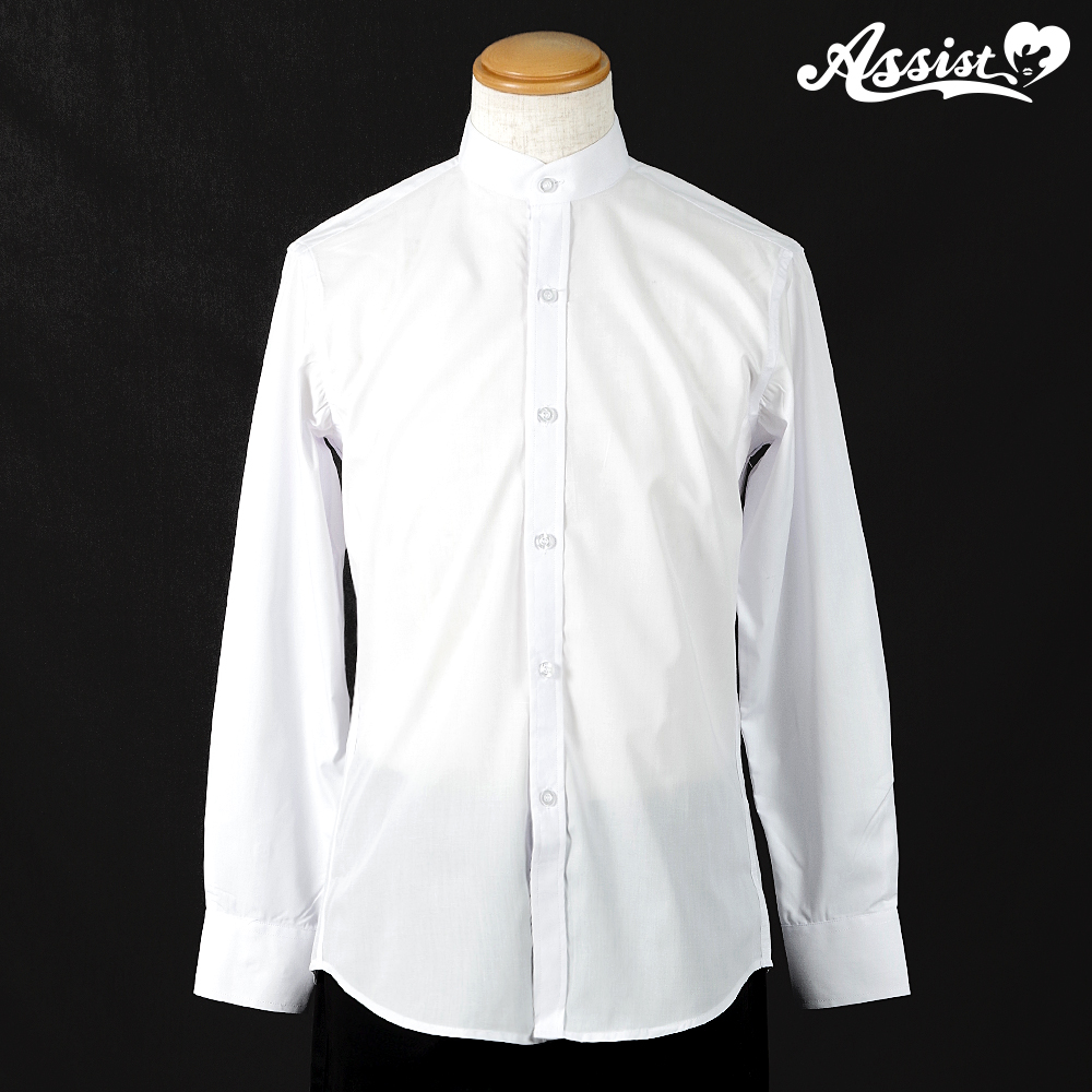 Stand collar shirt (front left, long sleeves) White