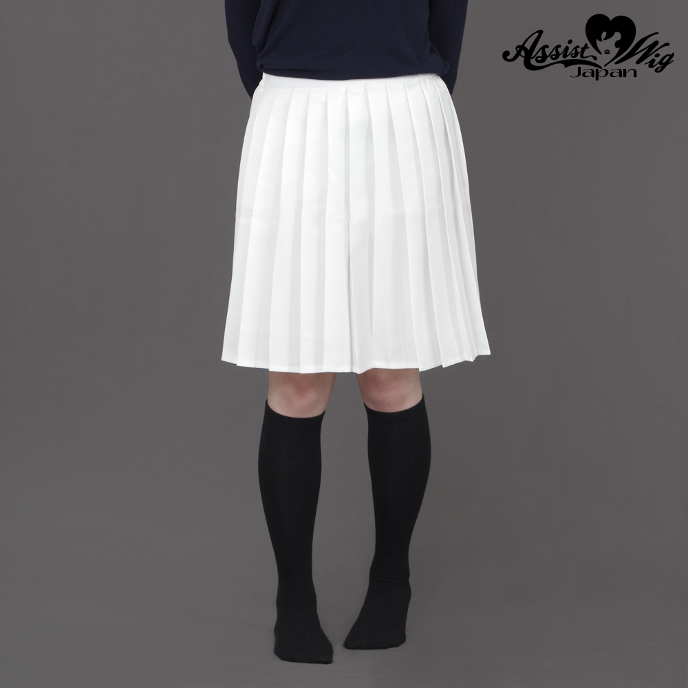 Color middle pleated skirt White