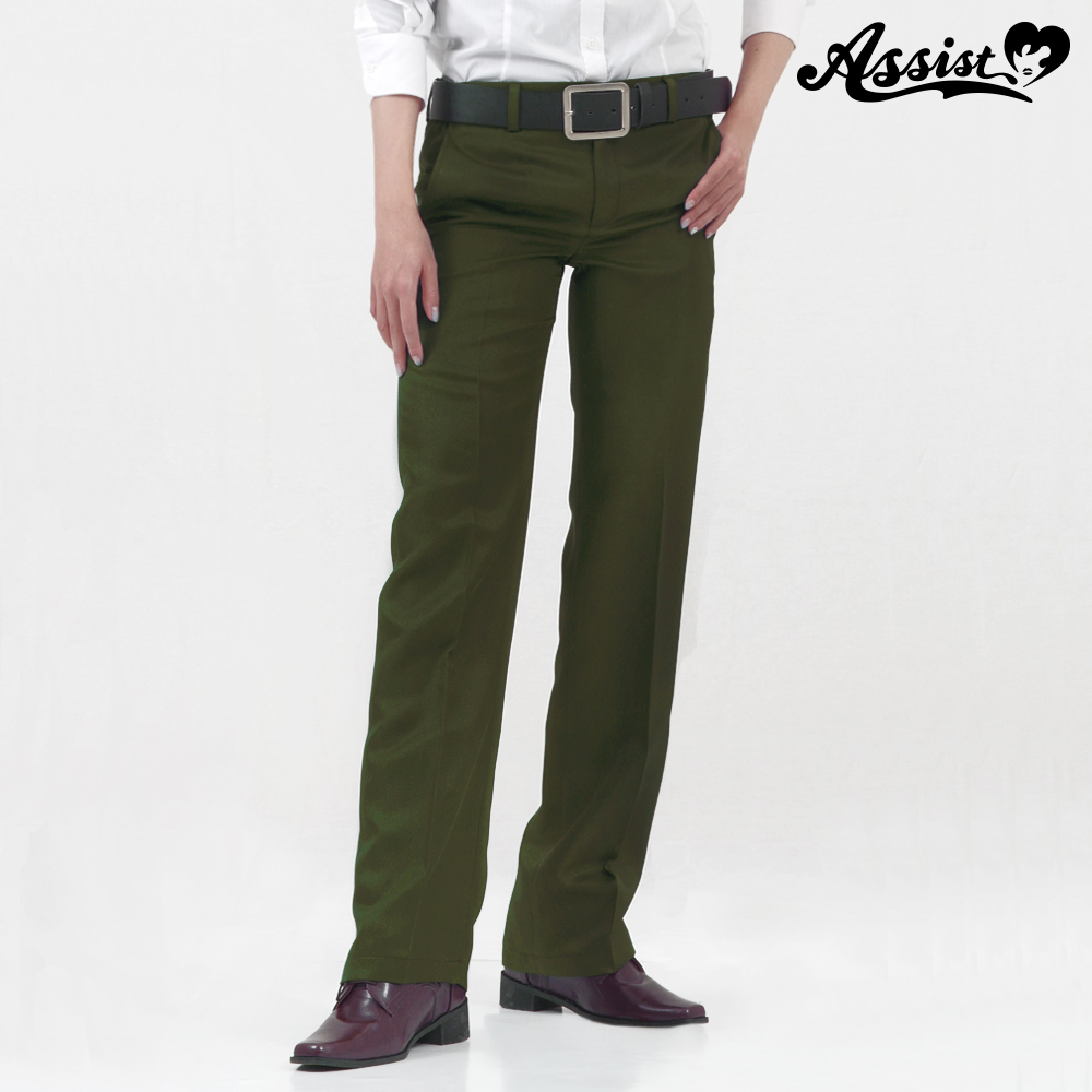 Color slacks olive green