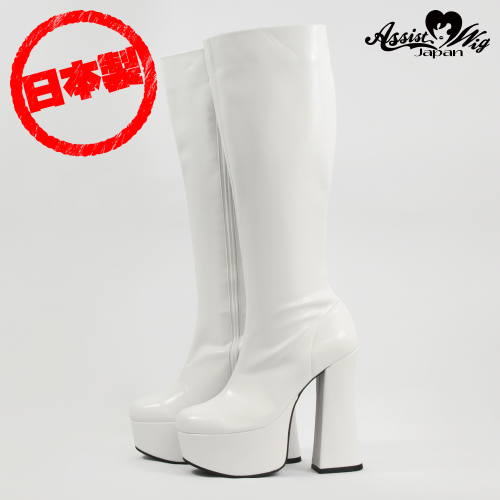 Thick bottom stretch long boots thick heel 14 cm White