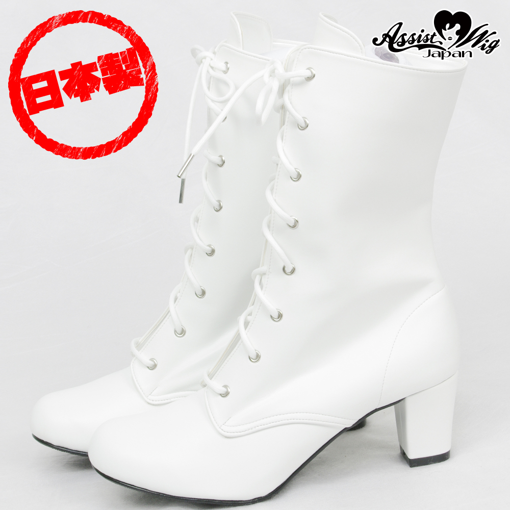 Queen Size Lace-Up Short Boots ver.2 Low Heels 5.5cm White